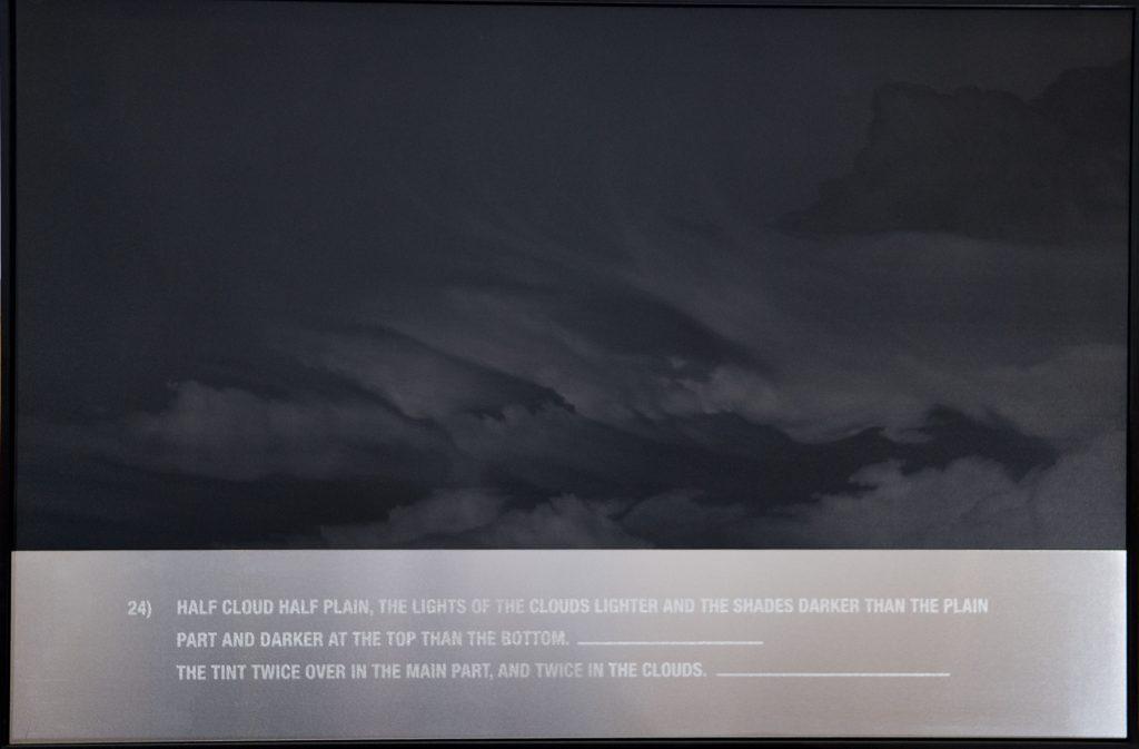 """Marcelo Moscheta, """"22)"""", da série """"A New Method for Assisting the Invention in the Composition of Clouds"""", 2009, grafite em placa de PVC e ácido muriático em placa de alumínio, 66 x 100 cm"""