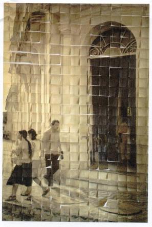 """Íris Helena, """"Notas de Esquecimento VII"""", da série """"Lembretes"""", 2009, inkjet over yellow banknotes, 207,9 x 147 cm, foto/instalação"""