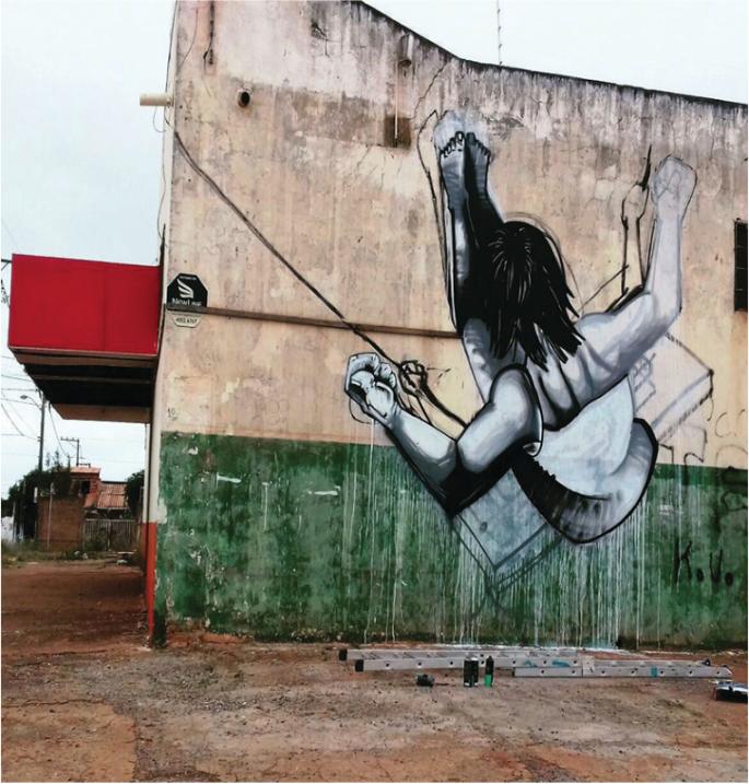 """Babu78, """"A ignorância não me deixou acabar"""", 2017, graffiti, 6,39 x 8 m"""