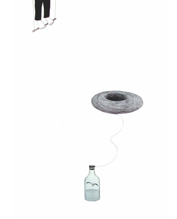 """Diego de Santos, """"Para onde vão os incomodados que se mudam"""", 2013, caneta esferográfica e grafite sobre papel, 96 × 66 cm"""