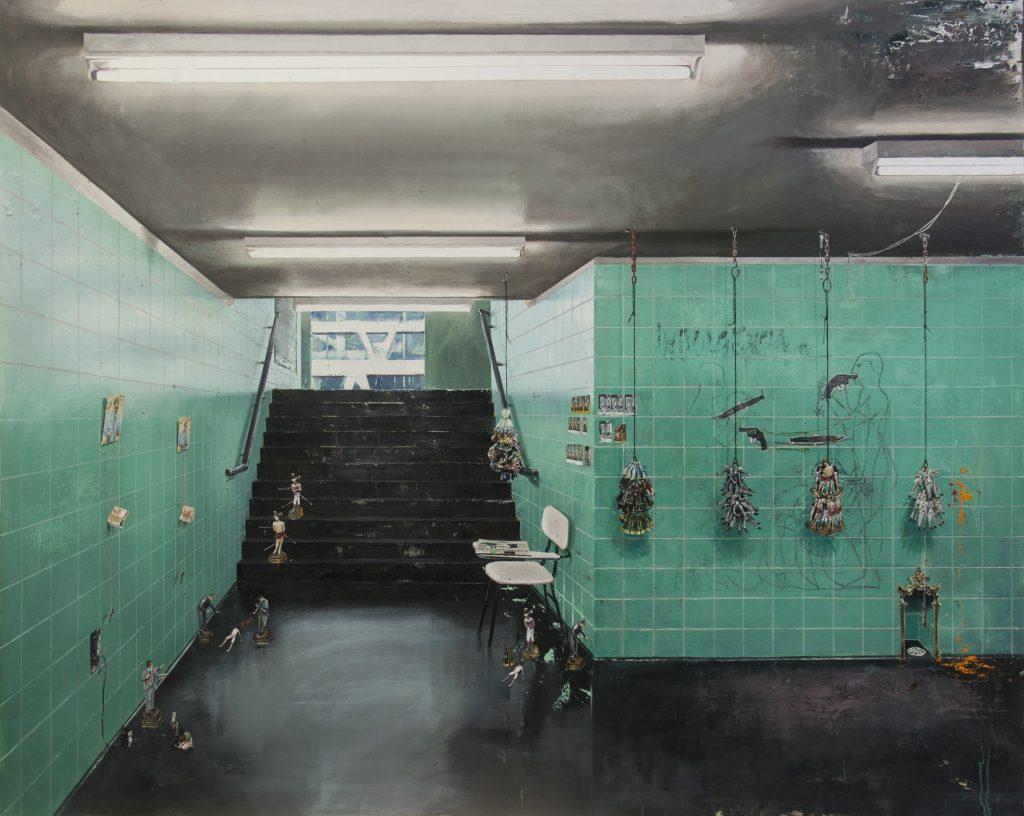 André Griffo, O Vendedor de Miniaturas, 2020, tinta e pastel óleo, lápis de cor e grafite sobre lona, 177 X 223cm