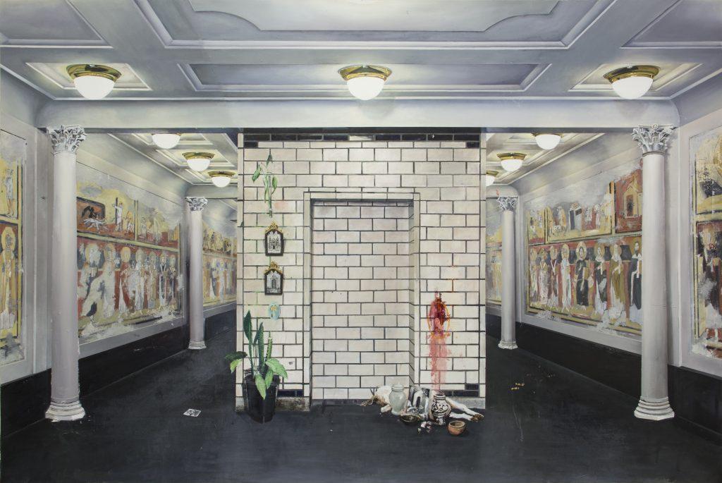 André Griffo, Aproximação Forçada, 2018, óleo e acrílica sobre lona [oil and acrylic on canvas], 194 x 290 cm