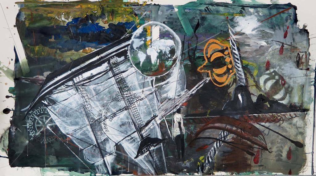 Sem título [Untitled], 2017, acrílica sobre papel [acrylic on paper], 210 x 114 cm