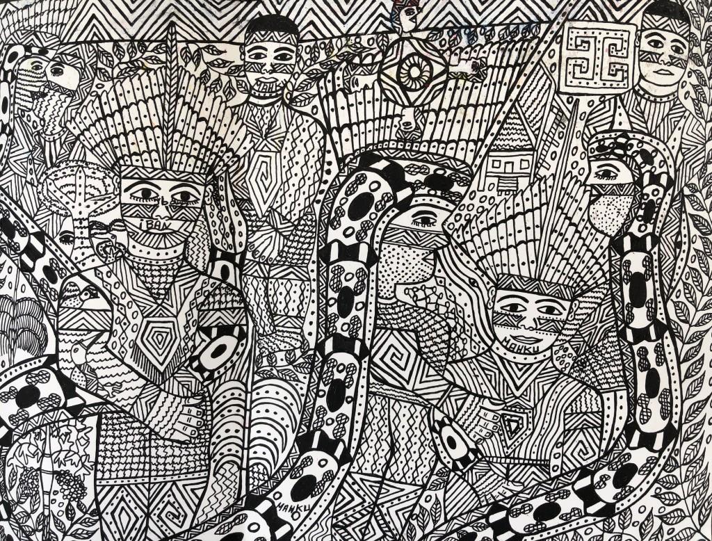 """YUBE NAWA AIBU"" [povo mulher jibóia], 2020, caneta sobre papel, 30 x 40 cm"