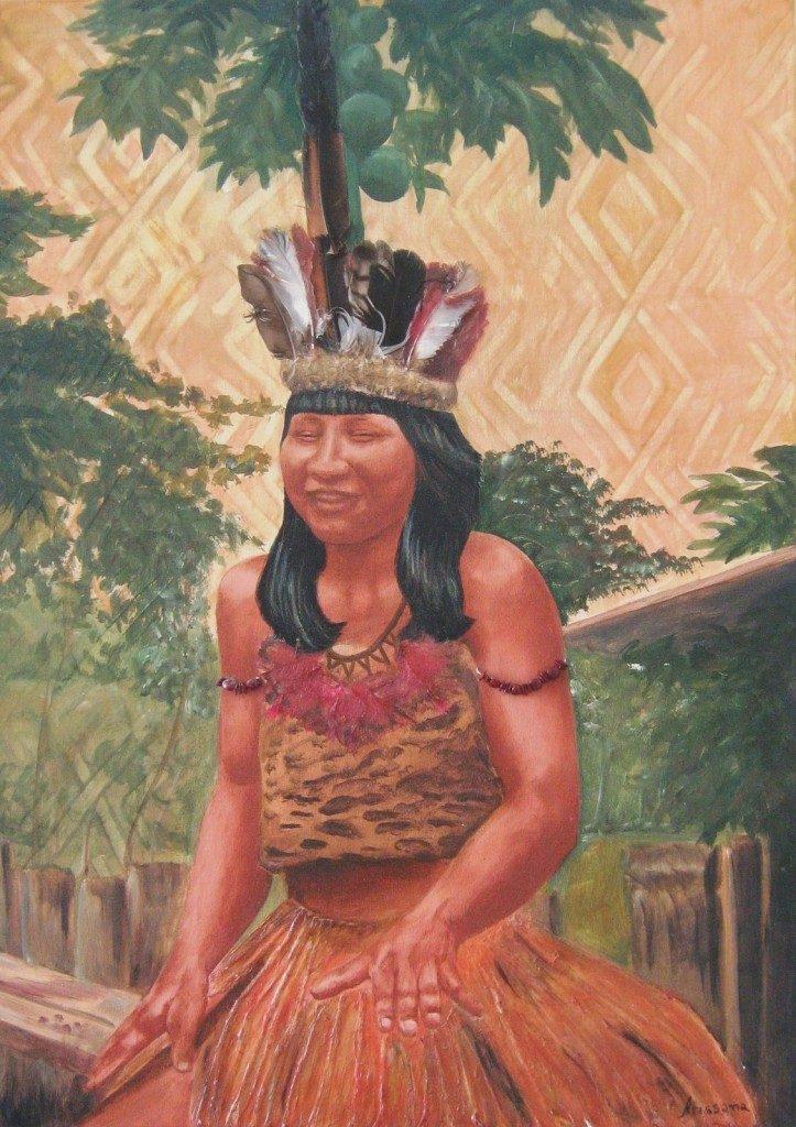 """Arissana Pataxó, """"Mureka"""", 2007, técnica mista sobre tela, 70 x 50 cm"""