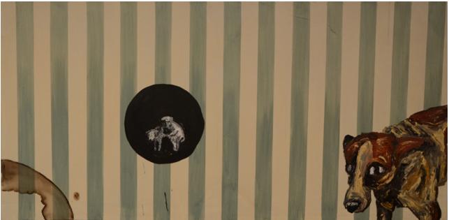 """Camila Soato, """"Projeto Pós Fim do Mundo #3"""", 2013, oil on canvas, 200 x 100 cm"""
