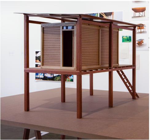 """Cadu, """"Maquete - quatro estações"""", 2013, box, MDF, cardboard, 50 x 70 x 40 cm"""