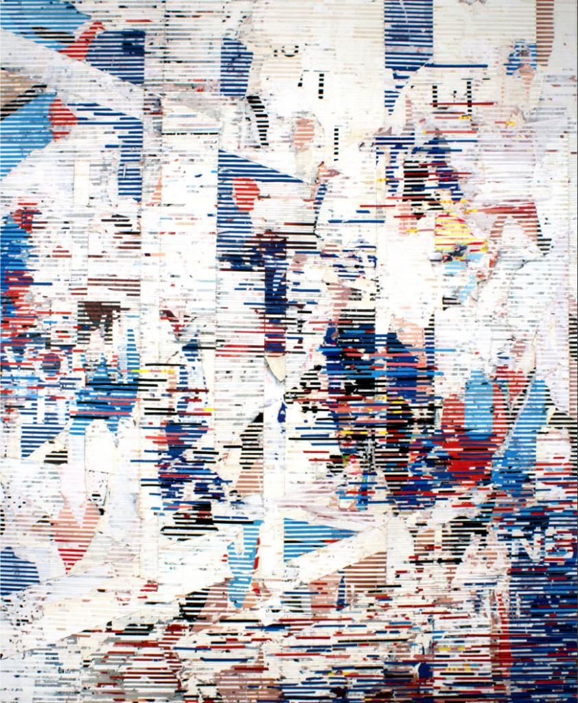 Luiz d'Orey, Untitled 52, 2017, colagem de posters encontrados sobre tela, 152 x 127 cm