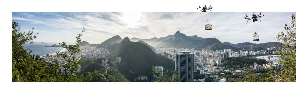 """Daniel Beerstecher, """"Liberation 4.0"""", Rio-Panorama I, photo collage (Fine-Art-Print pasted in Fine-Art-Print) , 40 x 130 cm, edition 2/3 + 1 AP, acquisition/commissioning"""