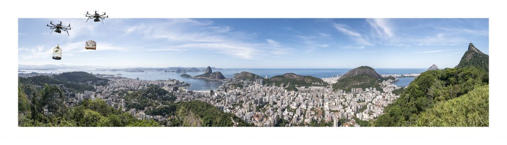 """Daniel Beerstecher, """"Liberation 4.0"""", Rio-Panorama II, photo collage (Fine-Art-Print pasted in Fine-Art-Print) , 40 x 140 cm, edition 2/3 + 1 AP, acquisition/commissioning"""