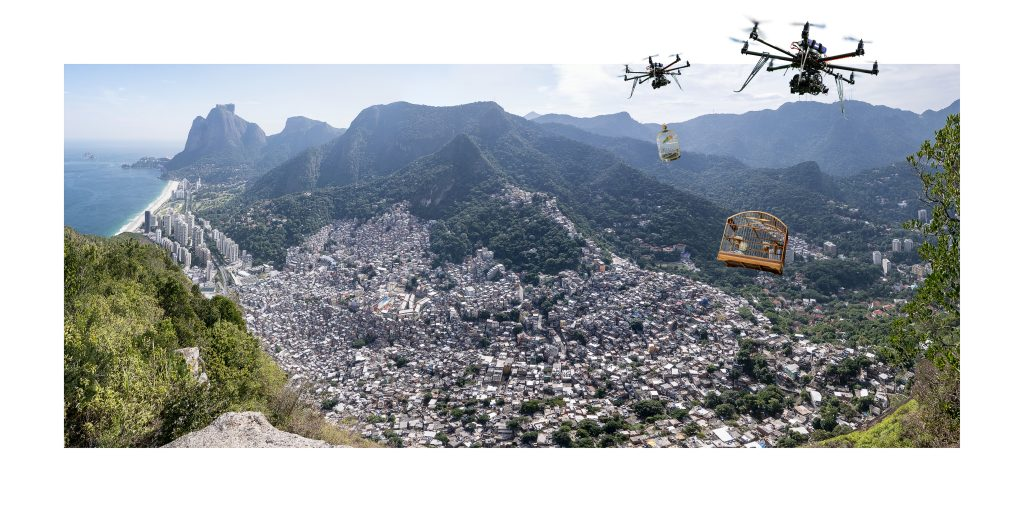 """Daniel Beerstecher, """"Liberation 4.0"""", Rio-Panorama III, photo collage (Fine-Art-Print pasted in Fine-Art-Print) , 40 x 80 cm, edition 2/3 + 1 AP, acquisition/commissioning"""